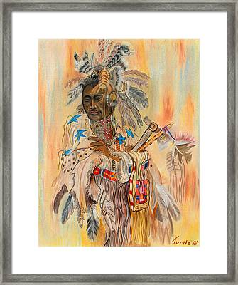 Native American Colored Pencil Rendition Of A Larry Fanning Oil Painting Framed Print by The Nothing Machine Ink