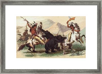 Native American Indian Bear Hunt, 19th Framed Print