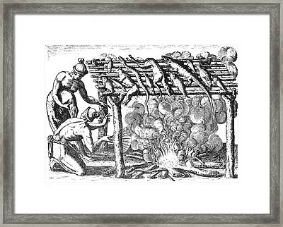 Native American Indians Barbecuing Framed Print