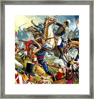 Native American Indians Vs American Soldiers Framed Print by Severino Baraldi