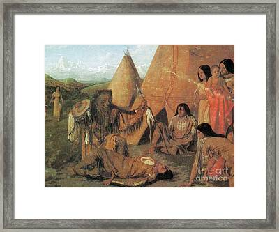 Native American Medicine Man Framed Print by Photo Researchers