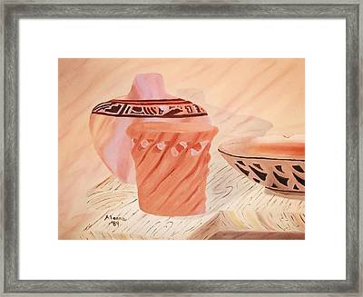 Native American Pottery Framed Print by Alanna Hug-McAnnally