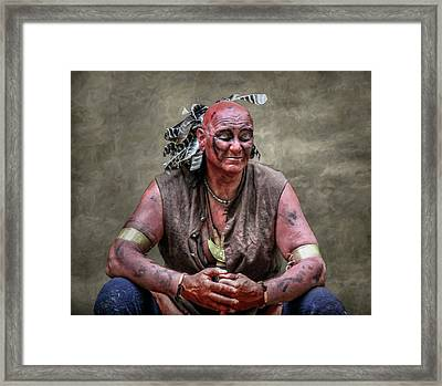 Native American Reenactor Portrait Framed Print