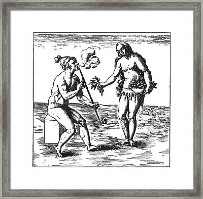 Native American Smoking, 1591 Framed Print