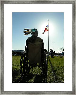 Native American Veteran In Wheel Chair Framed Print