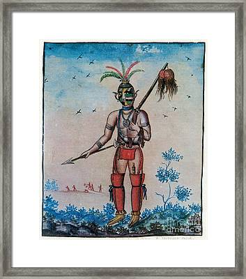 Native American With Scalps Mid-18th C Framed Print by Photo Researchers