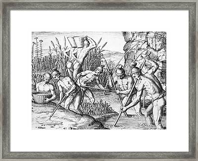 Native Americans: Collecting Gold Framed Print