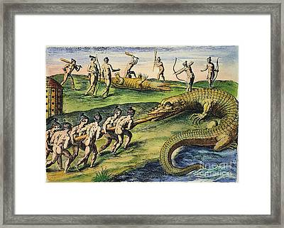Native Americans: Crocodiles, 1591 Framed Print