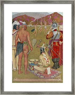 Native Americans Playing Lacrosse Framed Print
