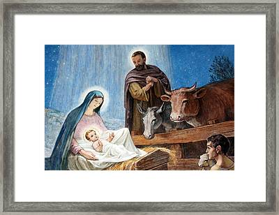 Nativity Painting At Shepherds Fields Framed Print by Munir Alawi
