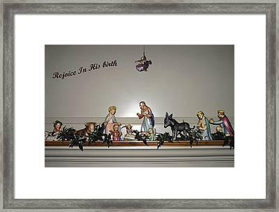 Nativity Set Framed Print by Sally Weigand