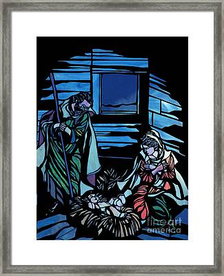Nativity Stained Glass Framed Print by Methune Hively