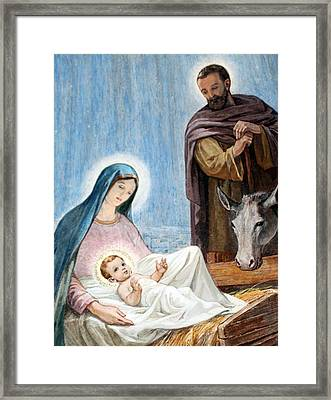 Nativity Story At Shepherds Fields Framed Print by Munir Alawi
