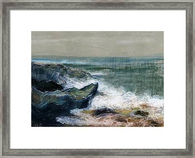 Nature Beach Landscape Of Sea In Storm Blue Green Water White Wave Breaks On Rock Clouds In Sky  Framed Print by Rachel Hershkovitz