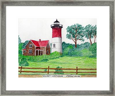Nauset Lighthouse Drawing Framed Print