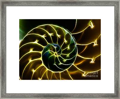 Nautilus Shell - Electric - V2 - Gold Framed Print