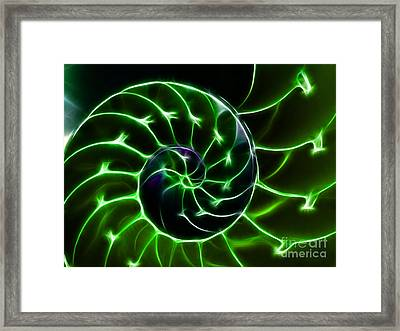 Nautilus Shell - Electric - V2 - Green Framed Print