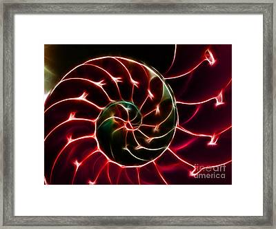 Nautilus Shell - Electric - V2 - Red Framed Print by Wingsdomain Art and Photography