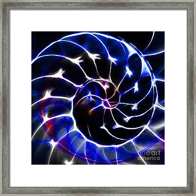 Nautilus Shell Ying And Yang - Electric - V1 - Blue Framed Print