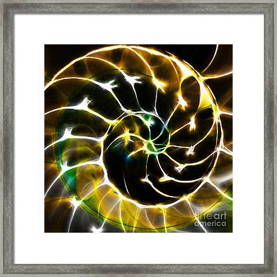 Nautilus Shell Ying And Yang - Electric - V1 - Gold Framed Print