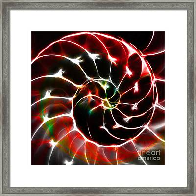 Nautilus Shell Ying And Yang - Electric - V1 - Red Framed Print