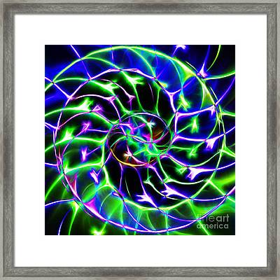 Nautilus Shell Ying And Yang - Electric - V2 - Blue-green Framed Print