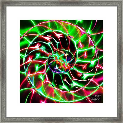 Nautilus Shell Ying And Yang - Electric - V2 - Green Framed Print