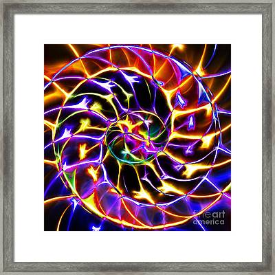 Nautilus Shell Ying And Yang - Electric - V2 - Yellow-purple Framed Print