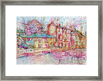 Navigli City Of Milan In Italy Portrait.1 Framed Print by Fabrizio Cassetta