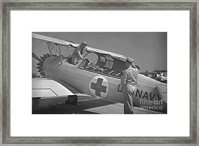 Navy Air Ambulance 1943 Bw Framed Print by Padre Art