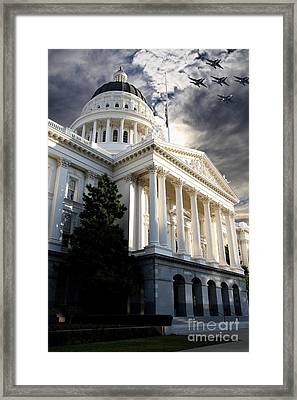 Navy Blue Angels Flying Over The California State Capitol . 7d11771 Framed Print by Wingsdomain Art and Photography