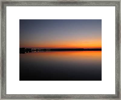 Navy Orange Sunset Framed Print