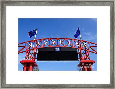 Navy Pier Sign In Chicago Framed Print by Paul Velgos