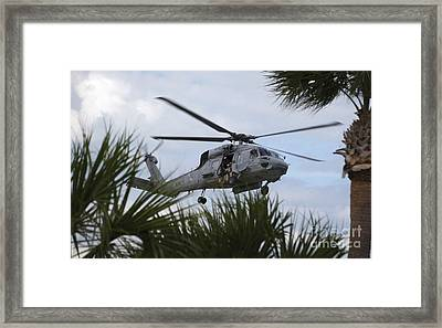 Navy Seals Look Out The Helicopter Door Framed Print by Michael Wood