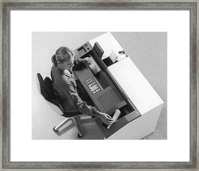 Ncr Machine Framed Print by Archive Photos