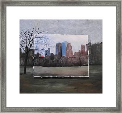 Ncy Central Park Layered Framed Print by Anita Burgermeister