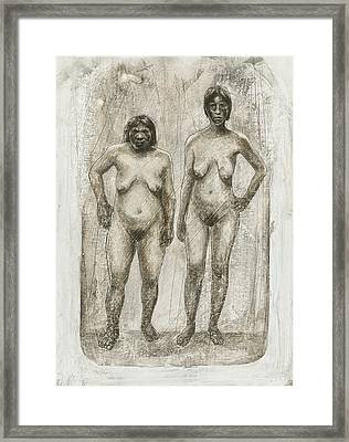 Neanderthal And Homo Sapiens Framed Print by Kennis And Kennismsf