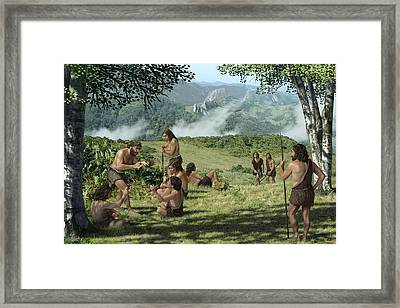 Neanderthals In Summer, Artwork Framed Print by Mauricio Anton