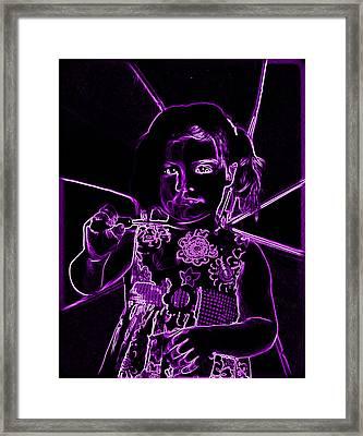Neaon Girl Holding Umbrella Framed Print by Sheila Kay McIntyre