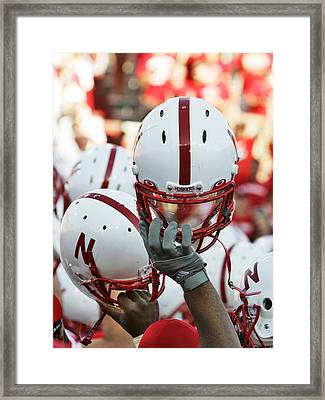 Nebraska Football Helmets  Framed Print by University of Nebraska