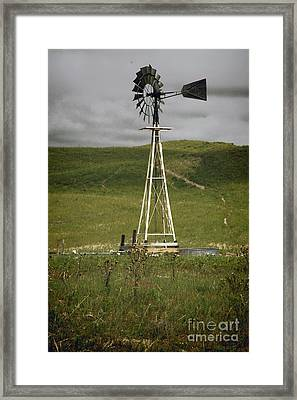 Nebraska Windmill-stormy Day Framed Print by Michael Flood