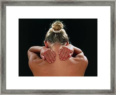 Neck/shoulder Pain:hands Of Woman Held Behind Neck Framed Print