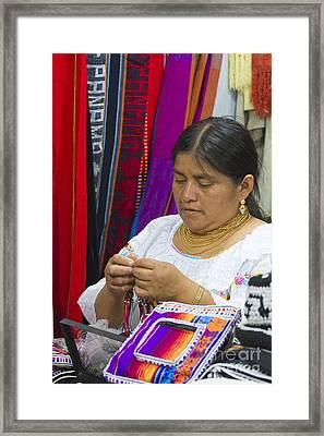 Needleworking Lady Framed Print by Heiko Koehrer-Wagner