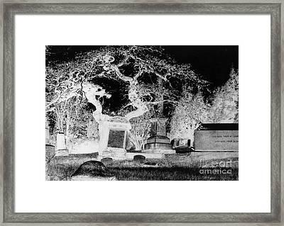Negative Image Of Cemetary Framed Print by JSM Fine Arts John Malone