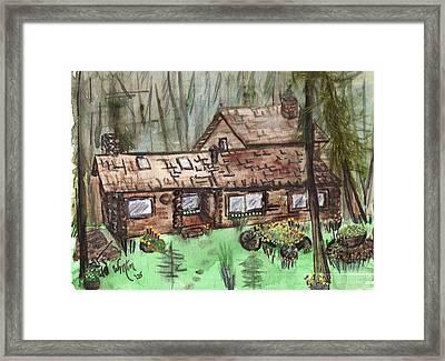 Neighbors Cabin Montana Framed Print by Windy Mountain