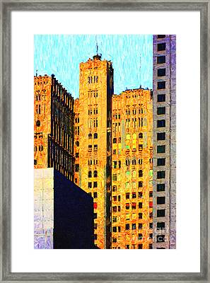 Neo-gothic Pacbell Building In San Francisco Framed Print by Wingsdomain Art and Photography
