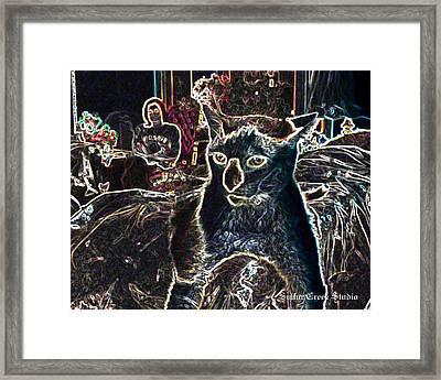 Neon Cat Framed Print by Sulfur Creek Studio