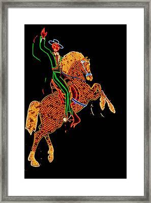Neon Cowboy Las Vegas Framed Print by Garry Gay