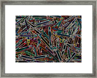 Neon Crayons Framed Print by Bernadette Kazmarski