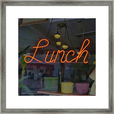 Neon Lunch Sign Framed Print